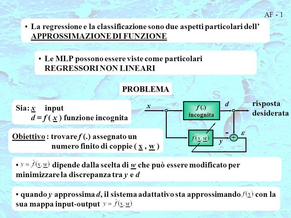 AF - 1 La regressione e la classificazione sono due aspetti particolari dell' APPROSSIMAZIONE DI FUNZIONE.