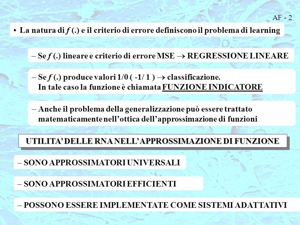 UTILITA' DELLE RNA NELL'APPROSSIMAZIONE DI FUNZIONE