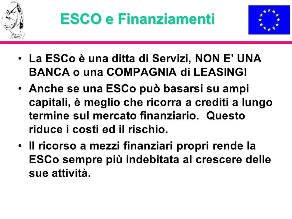 ESCO e Finanziamenti La ESCo è una ditta di Servizi, NON E' UNA BANCA o una COMPAGNIA di LEASING!