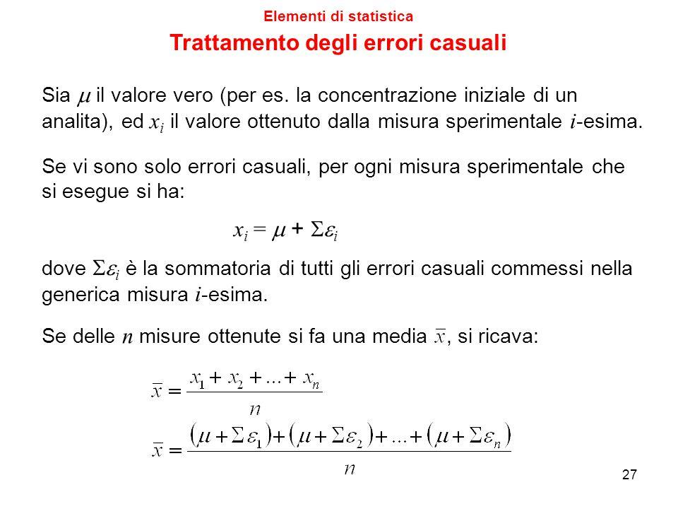 Elementi di statistica Trattamento degli errori casuali