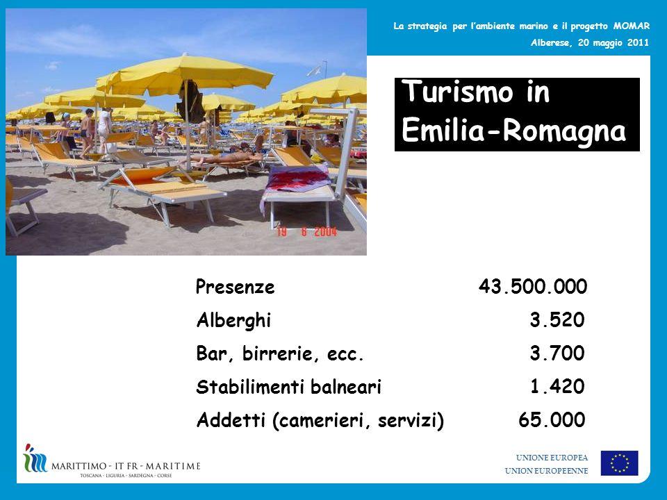 Turismo in Emilia-Romagna Presenze 43.500.000 Alberghi 3.520