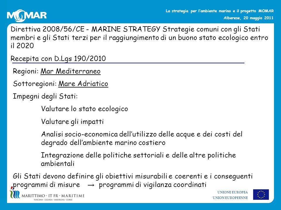 Direttiva 2008/56/CE - MARINE STRATEGY Strategie comuni con gli Stati membri e gli Stati terzi per il raggiungimento di un buono stato ecologico entro il 2020