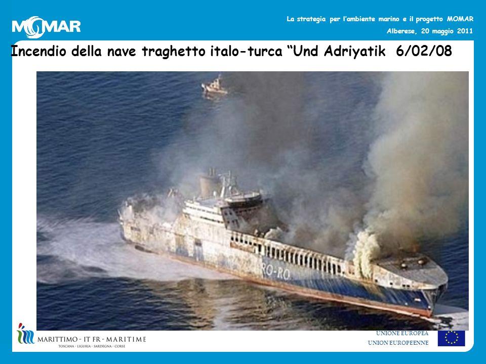 Incendio della nave traghetto italo-turca Und Adriyatik 6/02/08