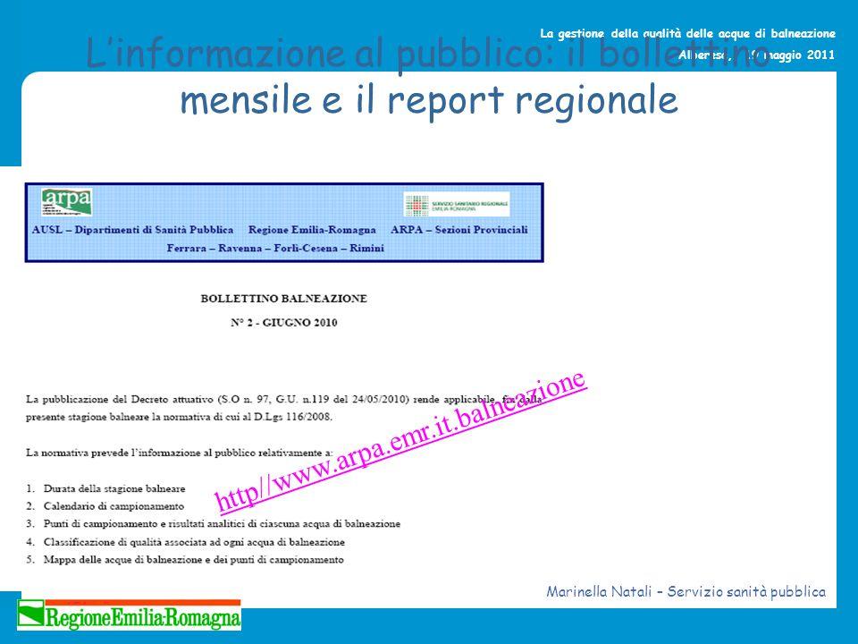 L'informazione al pubblico: il bollettino mensile e il report regionale