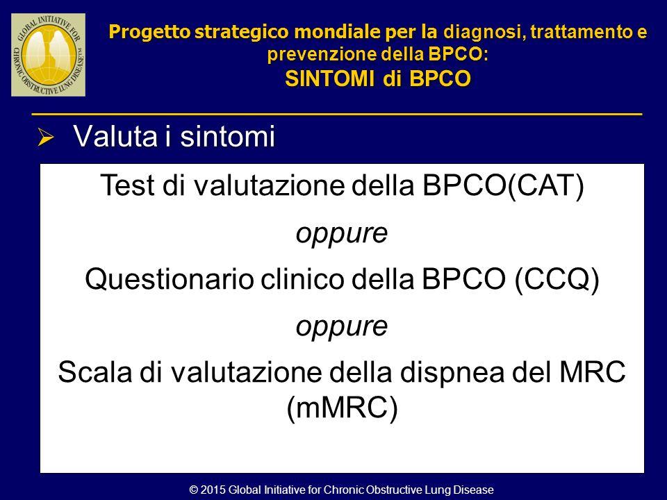 Valuta i sintomi Test di valutazione della BPCO(CAT) oppure