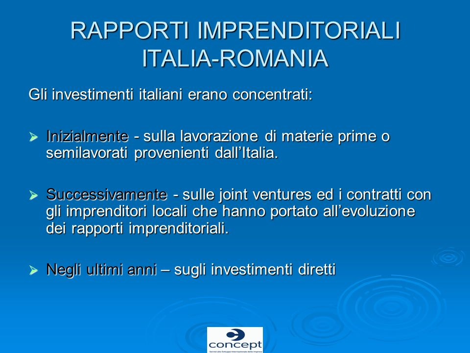 RAPPORTI IMPRENDITORIALI ITALIA-ROMANIA