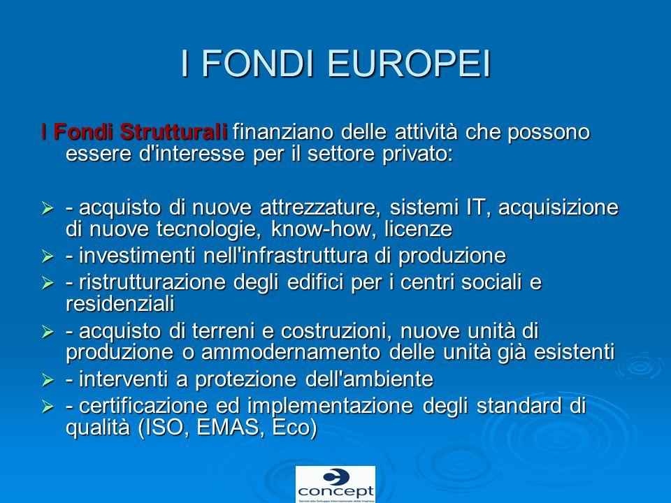 I FONDI EUROPEI I Fondi Strutturali finanziano delle attività che possono essere d interesse per il settore privato: