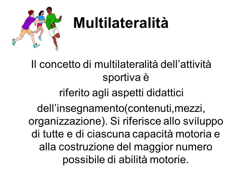 Multilateralità Il concetto di multilateralità dell'attività sportiva è. riferito agli aspetti didattici.