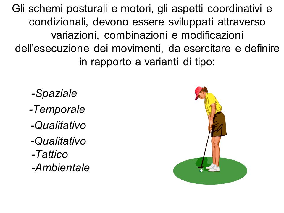 Gli schemi posturali e motori, gli aspetti coordinativi e condizionali, devono essere sviluppati attraverso variazioni, combinazioni e modificazioni dell'esecuzione dei movimenti, da esercitare e definire in rapporto a varianti di tipo: