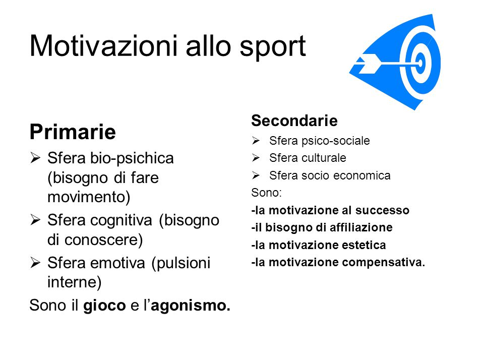 Motivazioni allo sport