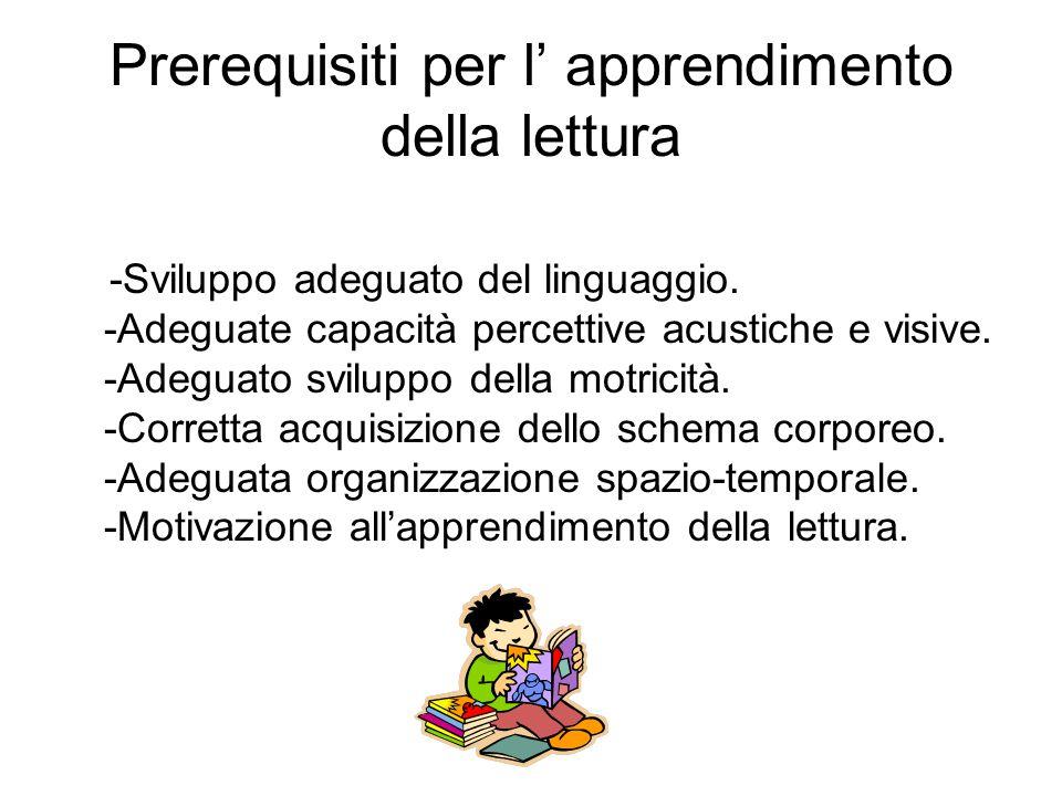 Prerequisiti per l' apprendimento della lettura