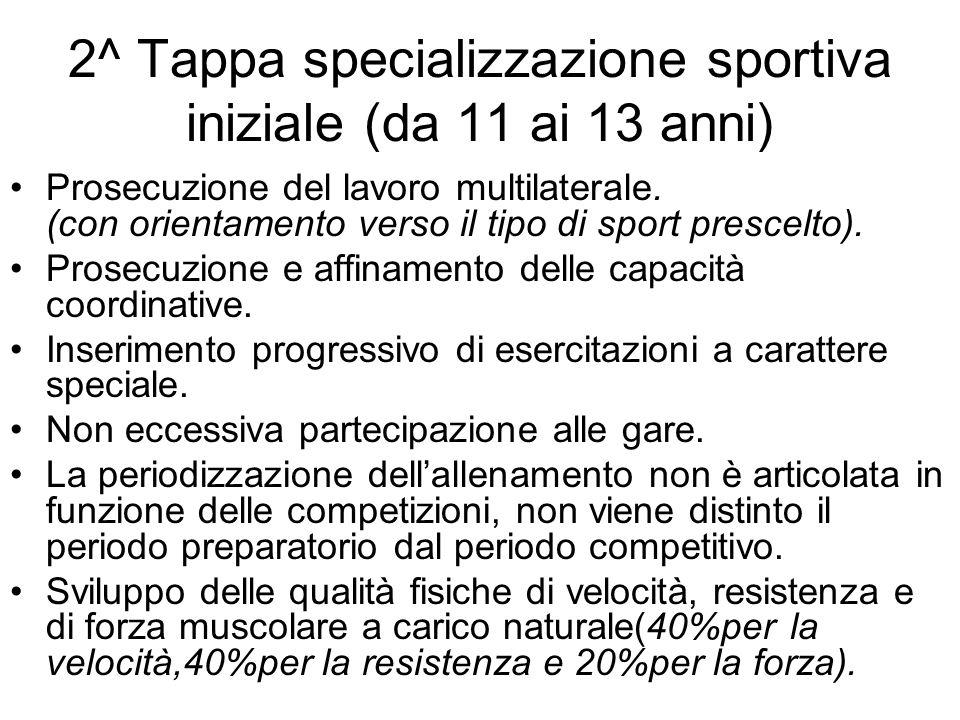 2^ Tappa specializzazione sportiva iniziale (da 11 ai 13 anni)