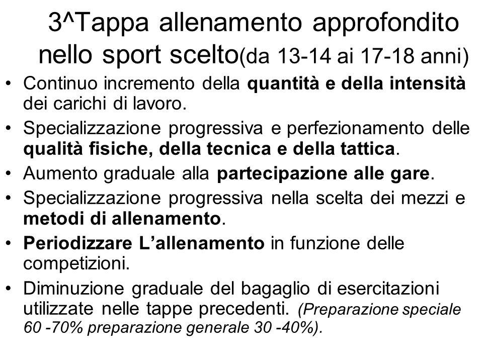 3^Tappa allenamento approfondito nello sport scelto(da 13-14 ai 17-18 anni)