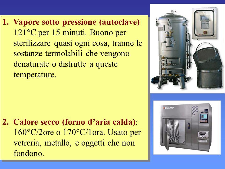 1. Vapore sotto pressione (autoclave) 121°C per 15 minuti