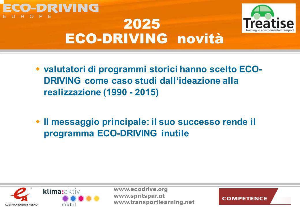 2025 ECO-DRIVING novità valutatori di programmi storici hanno scelto ECO-DRIVING come caso studi dall'ideazione alla realizzazione (1990 - 2015)