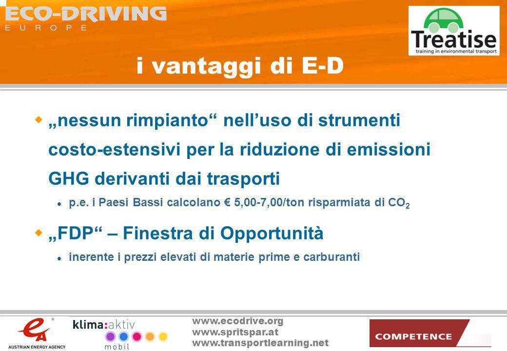 """i vantaggi di E-D """"nessun rimpianto nell'uso di strumenti costo-estensivi per la riduzione di emissioni GHG derivanti dai trasporti."""