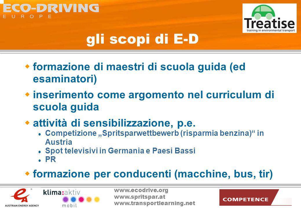 gli scopi di E-D formazione di maestri di scuola guida (ed esaminatori) inserimento come argomento nel curriculum di scuola guida.