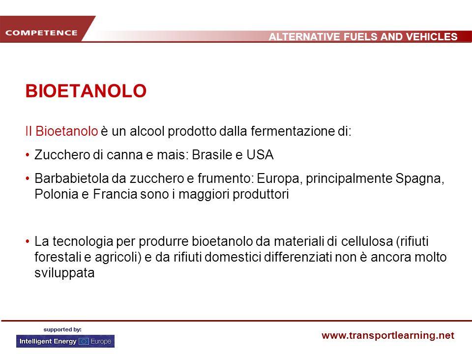 BIOETANOLO Il Bioetanolo è un alcool prodotto dalla fermentazione di: