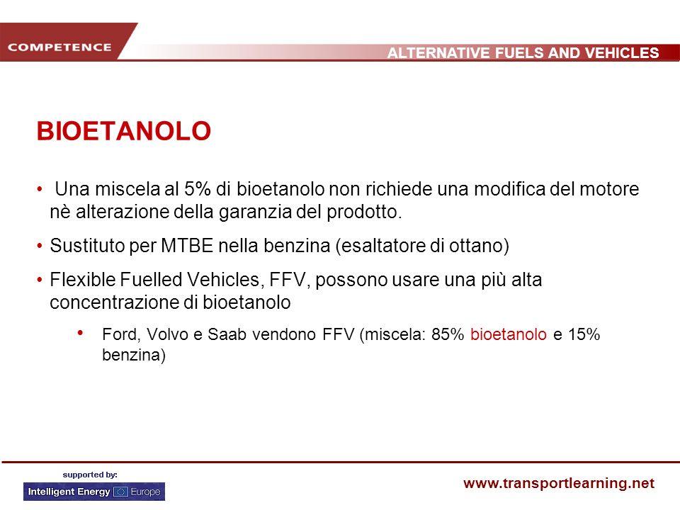 BIOETANOLO Una miscela al 5% di bioetanolo non richiede una modifica del motore nè alterazione della garanzia del prodotto.