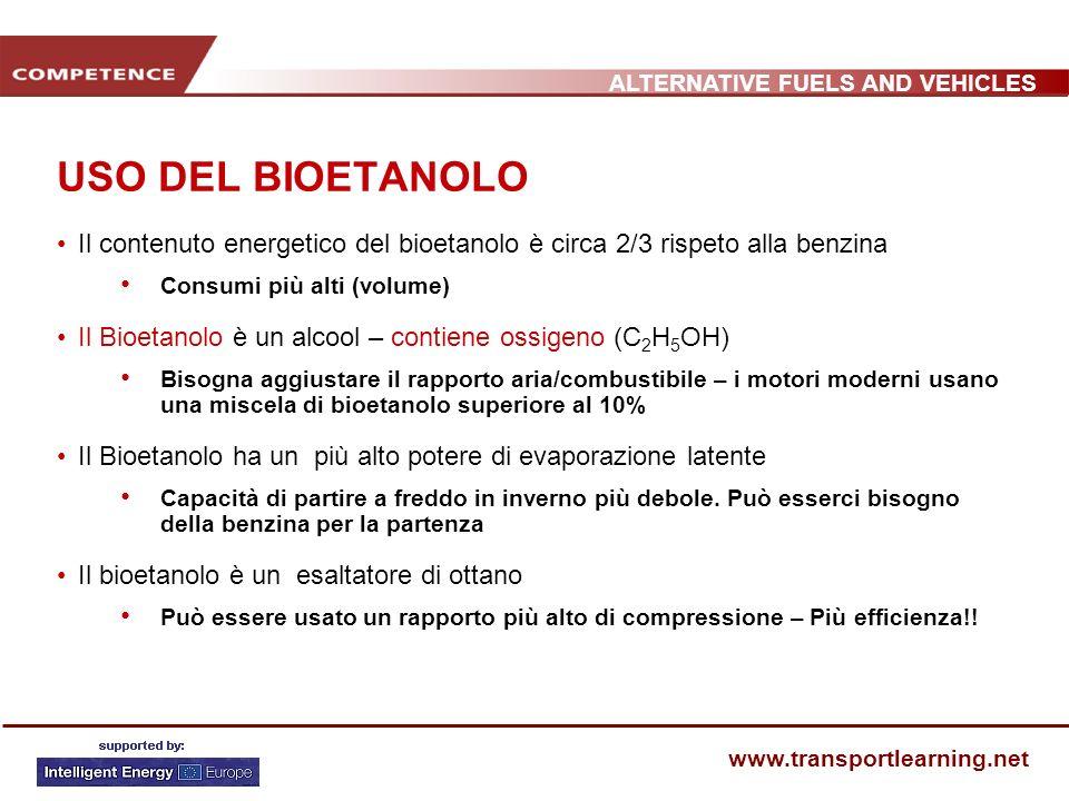 USO DEL BIOETANOLO Il contenuto energetico del bioetanolo è circa 2/3 rispeto alla benzina. Consumi più alti (volume)