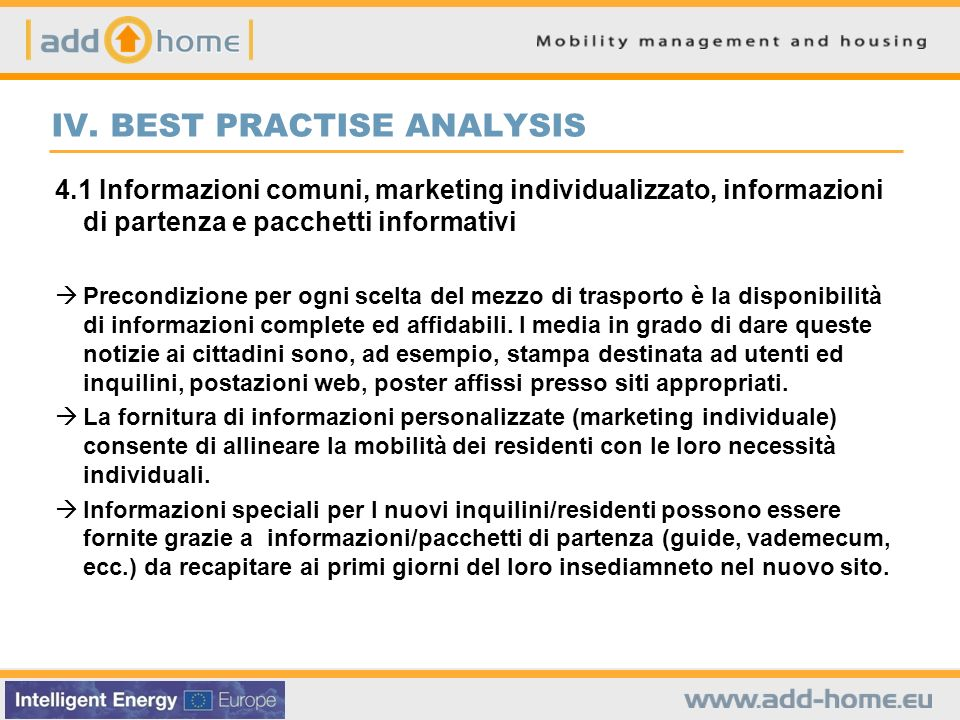 IV. BEST PRACTISE ANALYSIS