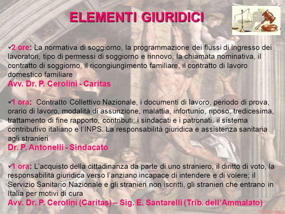 ELEMENTI GIURIDICI Avv. Dr. P. Cerolini - Caritas