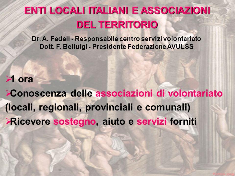 ENTI LOCALI ITALIANI E ASSOCIAZIONI DEL TERRITORIO