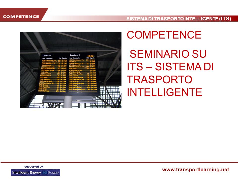 COMPETENCE SEMINARIO SU ITS – SISTEMA DI TRASPORTO INTELLIGENTE
