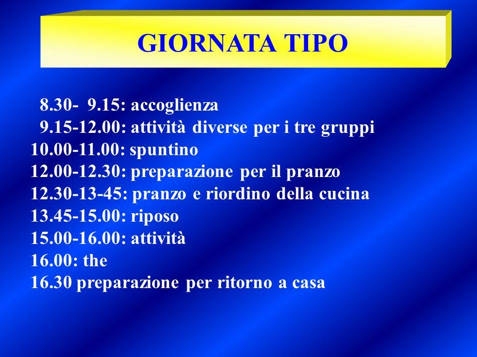 GIORNATA TIPO 8.30- 9.15: accoglienza