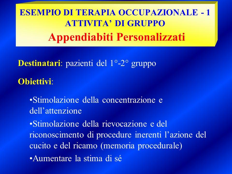 ESEMPIO DI TERAPIA OCCUPAZIONALE - 1 ATTIVITA' DI GRUPPO Appendiabiti Personalizzati