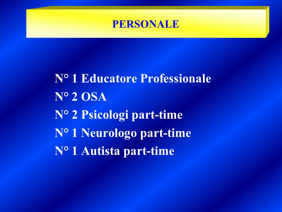 N° 1 Educatore Professionale N° 2 OSA N° 2 Psicologi part-time
