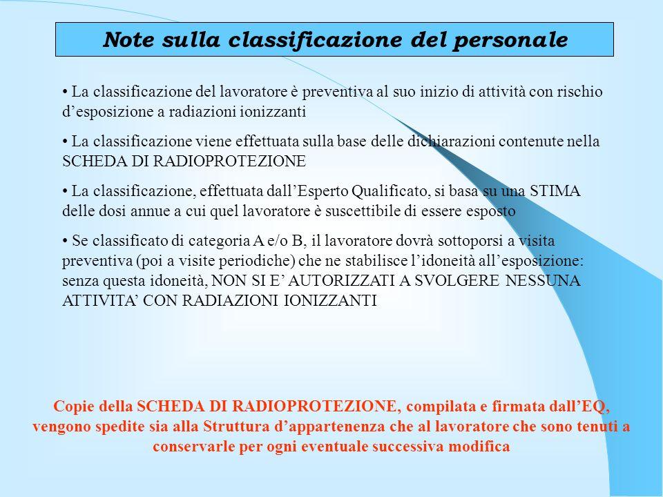 Note sulla classificazione del personale