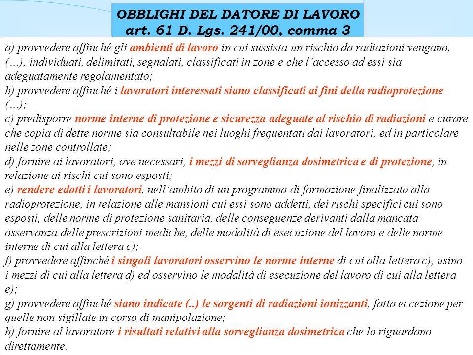 OBBLIGHI DEL DATORE DI LAVORO art. 61 D. Lgs. 241/00, comma 3