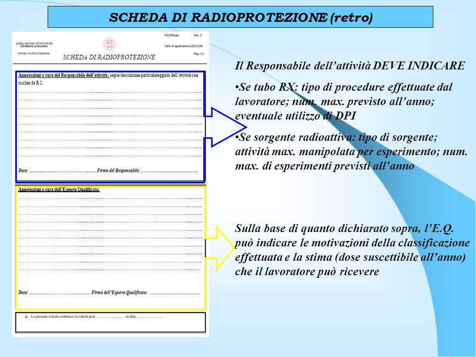 SCHEDA DI RADIOPROTEZIONE (retro)