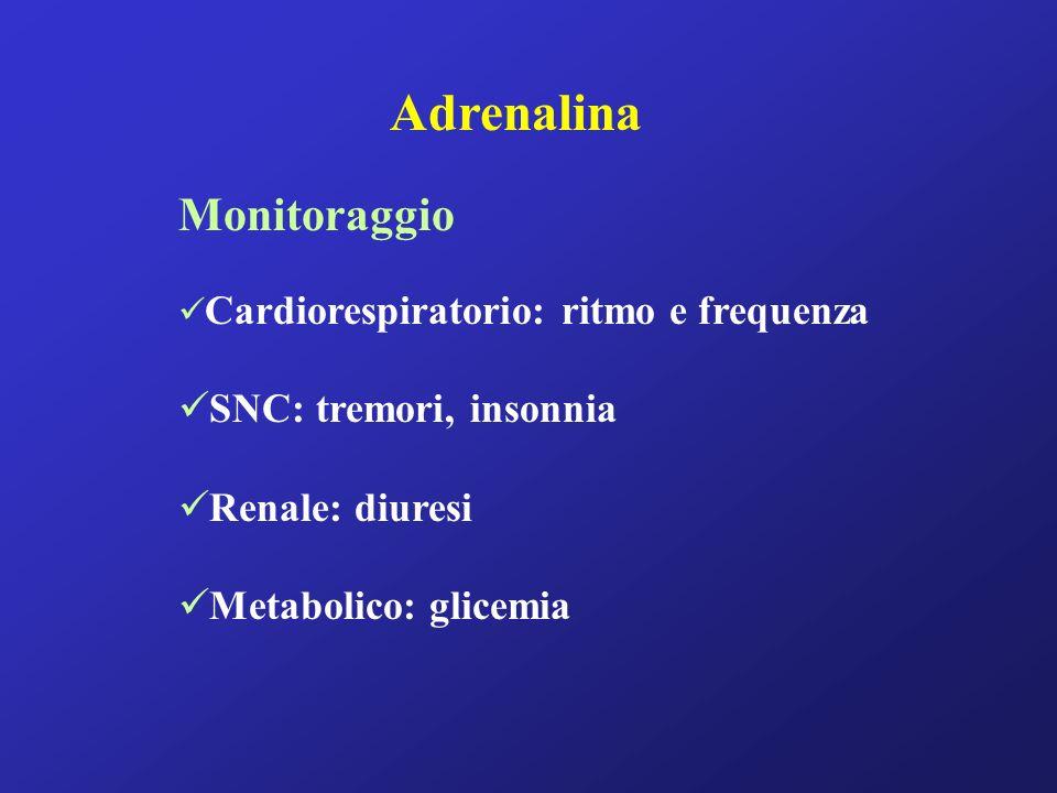 Adrenalina Monitoraggio SNC: tremori, insonnia Renale: diuresi