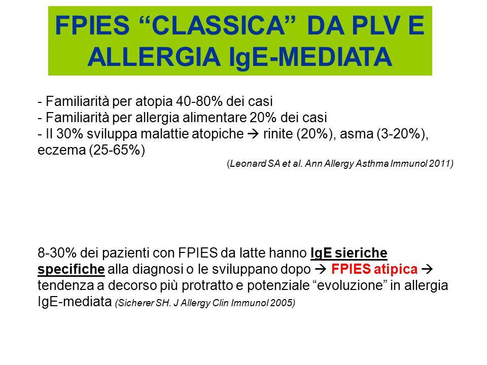 FPIES CLASSICA DA PLV E ALLERGIA IgE-MEDIATA