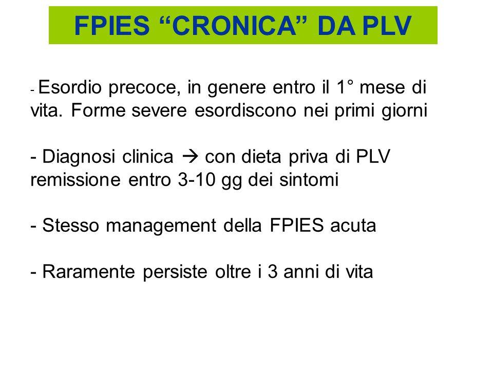 FPIES CRONICA DA PLV Esordio precoce, in genere entro il 1° mese di vita. Forme severe esordiscono nei primi giorni.