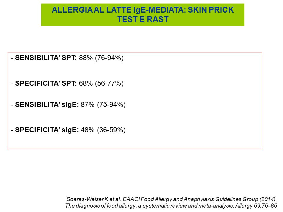 ALLERGIA AL LATTE IgE-MEDIATA: SKIN PRICK TEST E RAST