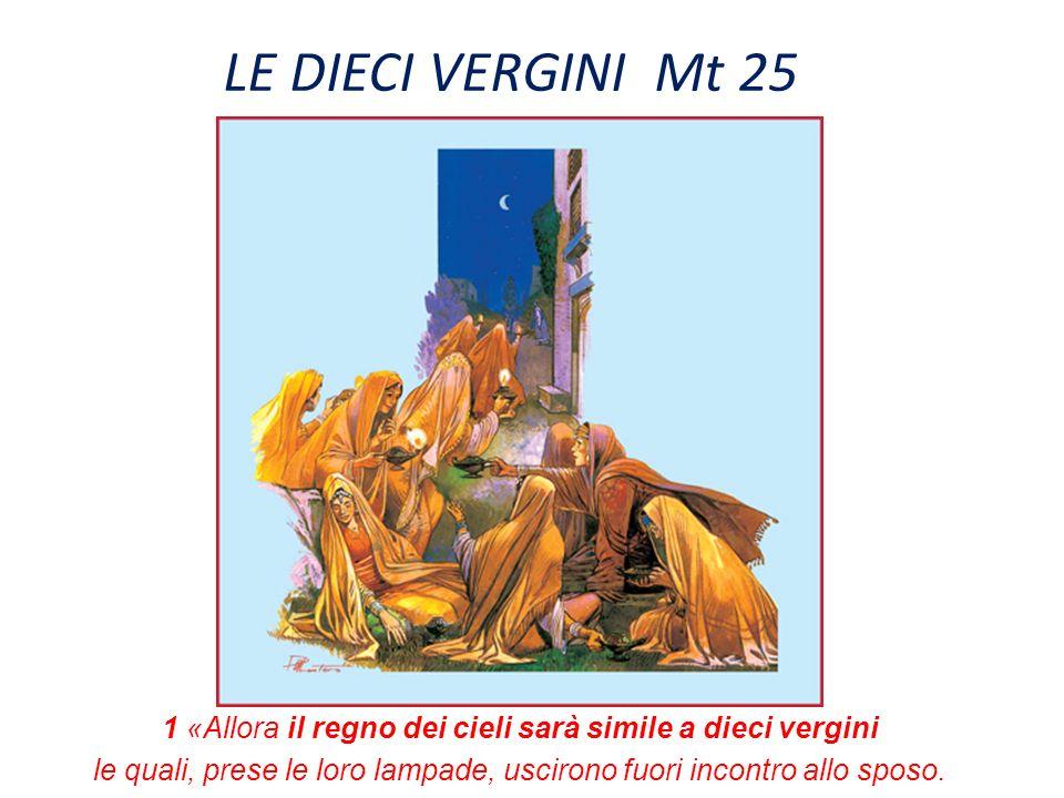 LE DIECI VERGINI Mt 25 1 «Allora il regno dei cieli sarà simile a dieci vergini.