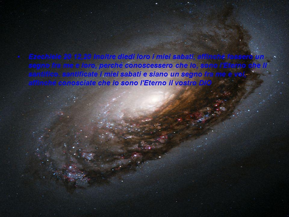 Ezechiele 20 12,20 Inoltre diedi loro i miei sabati, affinché fossero un segno fra me e loro, perché conoscessero che io, sono l Eterno che li santifico.
