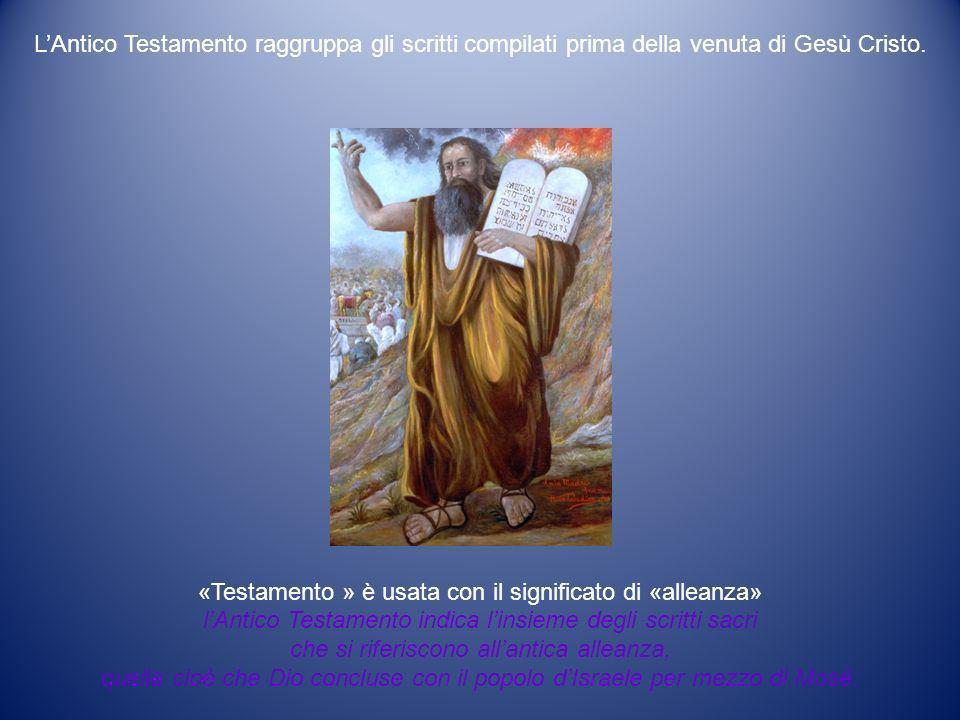 L'Antico Testamento raggruppa gli scritti compilati prima della venuta di Gesù Cristo.