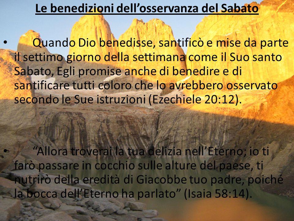 Le benedizioni dell'osservanza del Sabato