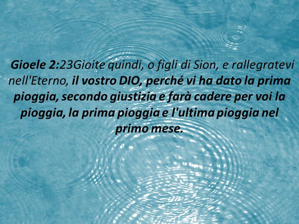 Gioele 2:23Gioite quindi, o figli di Sion, e rallegratevi nell Eterno, il vostro DIO, perché vi ha dato la prima pioggia, secondo giustizia e farà cadere per voi la pioggia, la prima pioggia e l ultima pioggia nel primo mese.