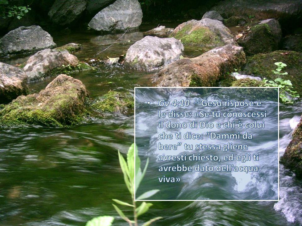 Gv 4:10 10Gesú rispose e le disse: «Se tu conoscessi il dono di Dio e chi è colui che ti dice: Dammi da bere tu stessa gliene avresti chiesto, ed egli ti avrebbe dato dell acqua viva»