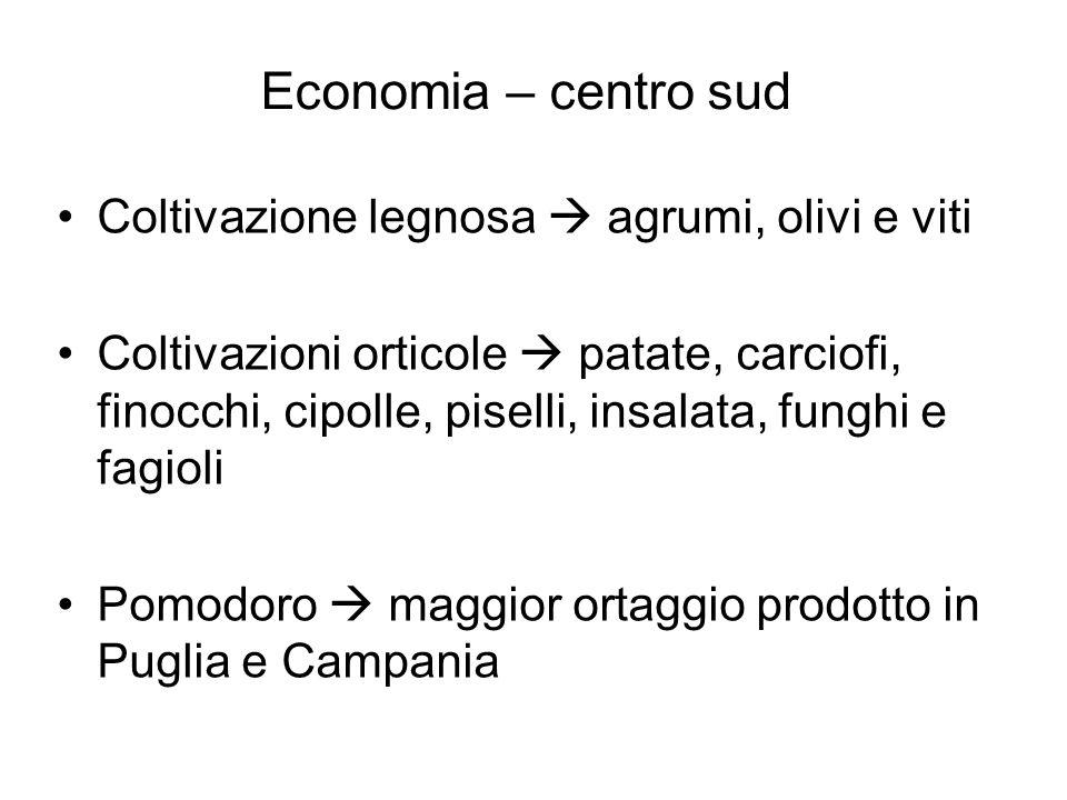 Economia – centro sud Coltivazione legnosa  agrumi, olivi e viti