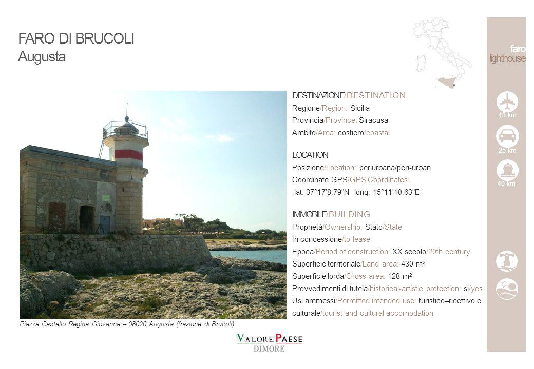 FARO DI BRUCOLI Augusta faro lighthouse DESTINAZIONE/DESTINATION