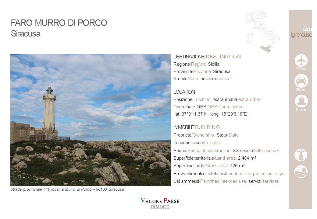 FARO MURRO DI PORCO Siracusa faro lighthouse DESTINAZIONE/DESTINATION