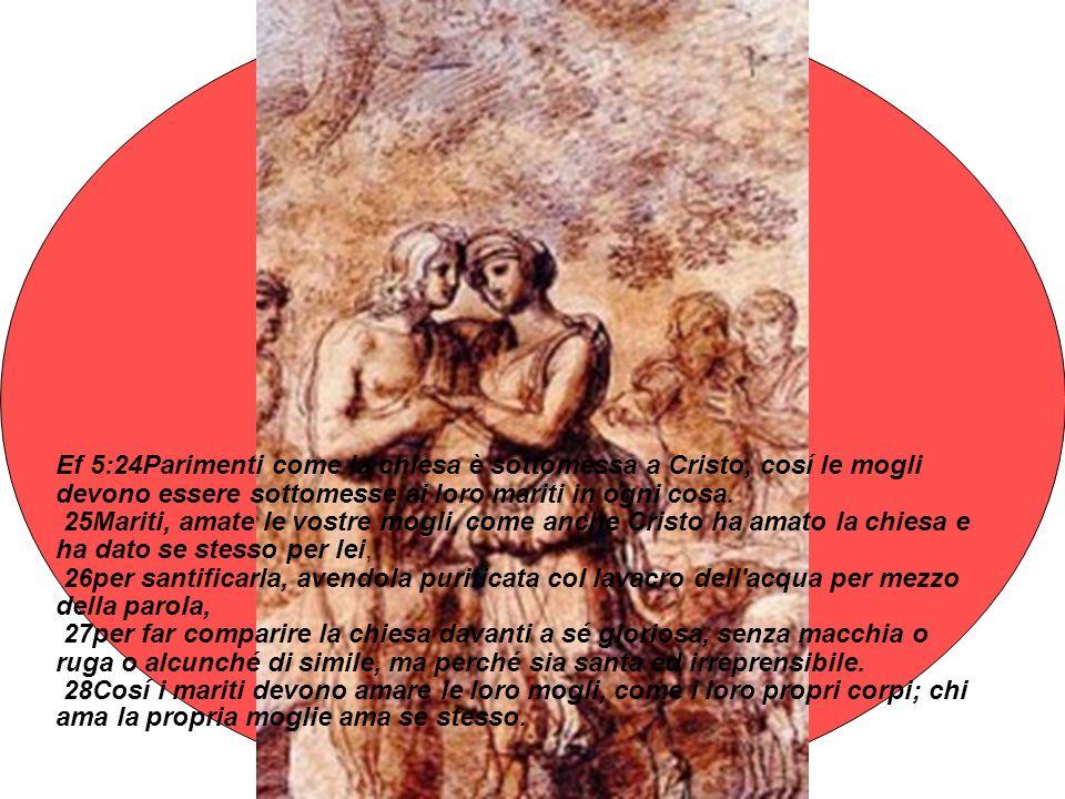 Ef 5:24Parimenti come la chiesa è sottomessa a Cristo, cosí le mogli devono essere sottomesse ai loro mariti in ogni cosa.