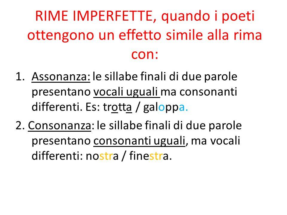 RIME IMPERFETTE, quando i poeti ottengono un effetto simile alla rima con: