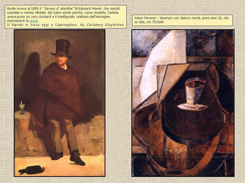 Risale invece al 1859 il Beveur d absinthe di Edouard Manet, che suscitò scandalo e vienne rifiutato dal Salon anche perché, come modello, l artista aveva preso un vero clochard e il trasfigurato realismo dell immagine impressionò la giuria.